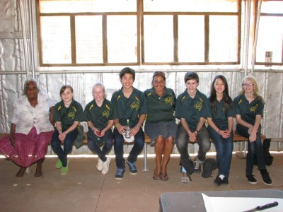 Left to right: Mavis Malbunka (President, Ntaria School Committee), Olivia McDacy, Katie Philipson, Young Hoon Oh, Alison Nararula Anderson MLA, Gaston Armand, Kelly Choo, Jessica Ramsey at Kutju Day, 24 August 2011, Hermannsburg NT